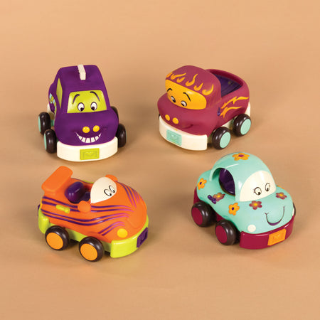 [B.Toys] Wheeee-ls Soft Cars Pull Back Vehicles with Chimes, Rattles, Squeaks and Rings Sound - 1year+
