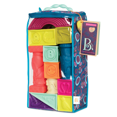 [B.Toys] Soft Architectural A-Z 26 Colorful Soft Blocks Elemenosqueeze BX1482Z - 6months+