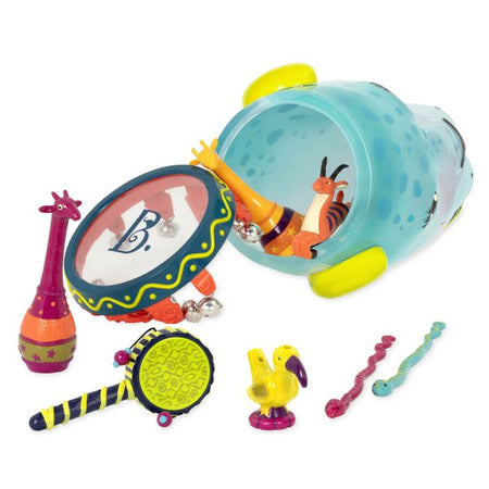 [B.Toys] Jungle Drum with 7 Instruments, Antelope Slide Whistle, Twister Hand Drum, Water Whistle, Giraffe Maracas - 2years+