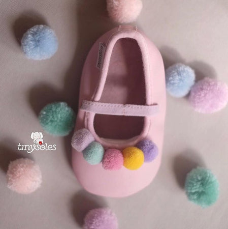 [TinySoles] Pre-walkers Soft Soled Baby Walking Shoes - Ballerina Pom Pom - 100% Genuine Leather