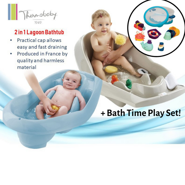 Thermobaby Bath Time Bundle (2-in-1 Lagoon Bathtub + Bath Time Play Set)