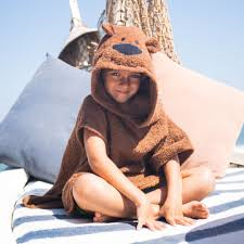 [Savana] Brown Bear Hooded Poncho Towel for Kids - 100% Cotton Suitable for Indoor / Outdoor - 11 designs