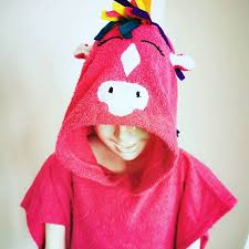 [Savana] Dark Pink Unicorn Hooded Poncho Towel for Kids - 100% Cotton Suitable for Indoor / Outdoor - 11 designs