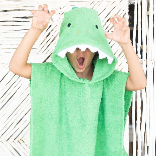 [Savana] Green Dinosaur Hooded Poncho Towel for Kids - 100% Cotton Suitable for Indoor / Outdoor - 11 designs