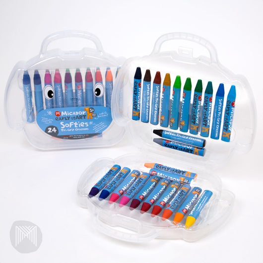 [MiCADOr] Early stART Softies Tri Grip Crayons Durable and Break-Resistant Beeswax Crayons, 24 in Case ESTC24 - 1year+