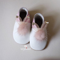 [TinySoles] Pre-walkers Soft Soled Baby Walking Shoes - Fluffy Bunny in Pink - 100% Genuine Leather