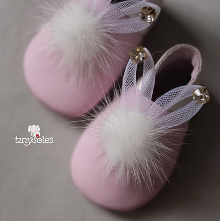 [TinySoles] Pre-walkers Soft Soled Baby Walking Shoes - Fluffy Bunny in White - 100% Genuine Leather