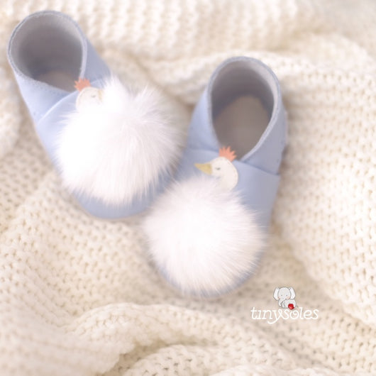 [TinySoles] Pre-walkers Soft Soled Baby Walking Shoes - Fluffy Swan in Black - 100% Genuine Leather