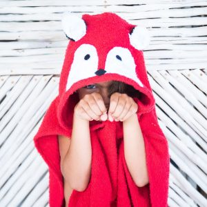 [Savana] Red Fox Hooded Poncho Towel for Kids - 100% Cotton Suitable for Indoor / Outdoor - 11 designs