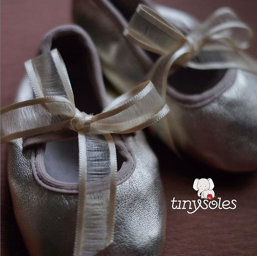 [TinySoles] Pre-walkers Soft Soled Baby Walking Shoes - Gold Ballerina - 100% Genuine Leather
