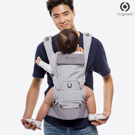 Hugpapa Dial-Fit 3-In-1 Hip Seat Baby Carrier (Light Grey)