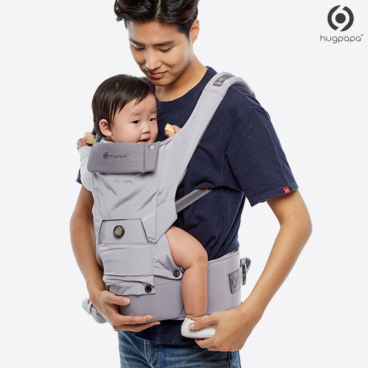 2019 New Edition Hugpapa Dial-Fit 3-In-1 Hip Seat Baby Carrier (Light Grey)