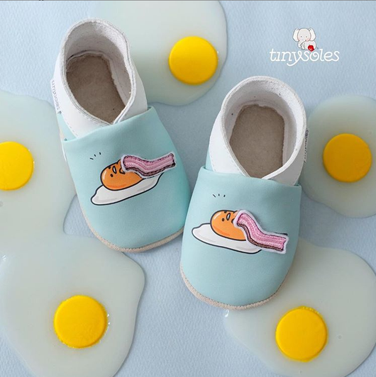 [TinySoles] Pre-walkers Soft Soled Baby Walking Shoes - Gudetama Bacon Blanket - 100% Genuine Leather