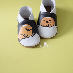 [TinySoles] Pre-walkers Soft Soled Baby Walking Shoes - Gudetama Black in Size L - 100% Genuine Leather