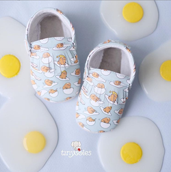 [TinySoles] Pre-walkers Soft Soled Baby Walking Shoes - Gudetama Pattern in Size L - 100% Genuine Leather