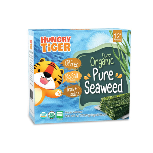 [Hungry Tiger] Healthy Organic Pure Seaweed Snacks (10 Bags x 2g) - Suitable for 12 months and above - Certified by HACCP and USDA Organic
