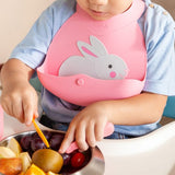 [VIIDA] The Joy Series Portable Foldable Silicone Bib with Catch Tray (Zoo Series) - Reusable, Easy Clean, Lightweight, Adjustable Snaps, No More Mess, Eco-Friendly, Safe, FDA Certified