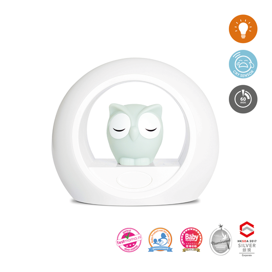 [Zazu] 2-in-1 Baby Night Light with Sound Sensor and Brightness Adjustable, Lou the Owl - 0months+
