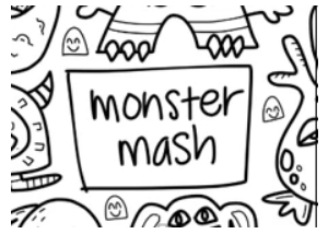 Drawnby: Monster Mash Washable Silicone Colouring Mat + 14pcs Markers Set