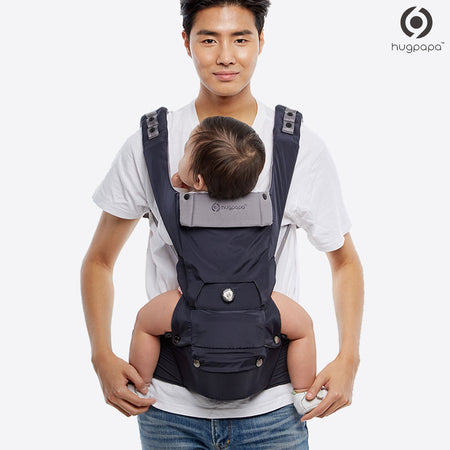 2019 New Edition Hugpapa Dial-Fit 3-In-1 Hip Seat Baby Carrier (Navy Blue)