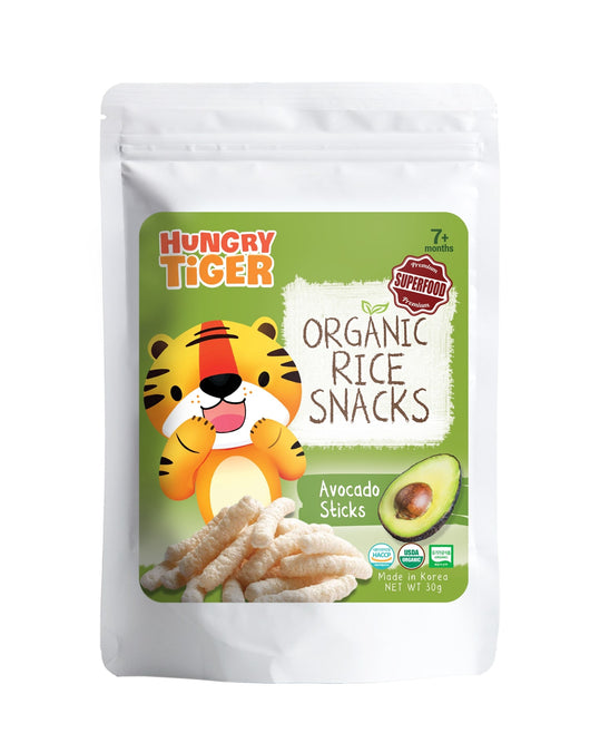 [Hungry Tiger] Healthy Superfood Organic Brown Rice Sticks Snacks - Avocado (30g) - Suitable for 7+ months and above, Baby, Toddler, Kids - Made in Korea - Certified by HACCP & USDA Organic - Available in 2 Flavours (Avocado/Spirulina)