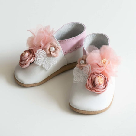 [TinySoles] Pre-walkers Soft Soled Baby Walking Shoes - Garden Party Rose (Papillion Rose) - 100% Genuine Leather