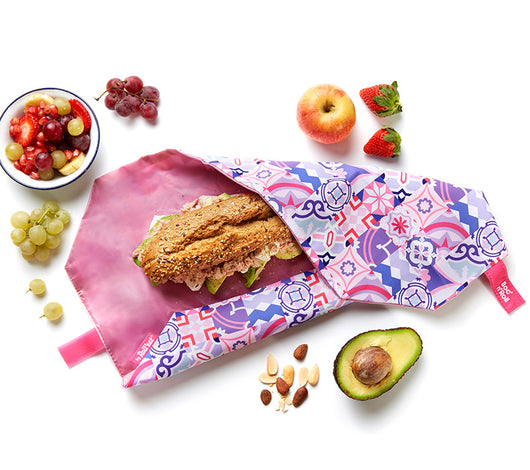 [Roll'Eat] Boc'n'Roll (Patchwork Design) - Reusable Sandwiches Food Wrappers, Dirty-Proof & Waterproof - Available in 4 Colours