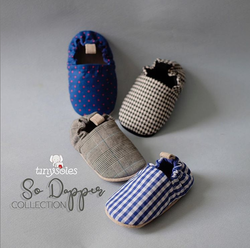 [TinySoles] Pre-walkers Soft Soled Baby Walking Shoes - So Dapper Collection (Plaid, Blue Pink Dots, Houndstooth)