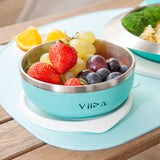 [VIIDA] The Soufflé Kids Antibacterial Stainless Steel Bowl with Lid 430ml/14.5 oz - Eco-Friendly - Safe - FDA Certified - SGS Tested