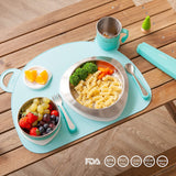 [VIIDA] The Soufflé Kids Antibacterial Stainless Steel Tableware Set - 2018 Red Dot Design Winner - Eco-Friendly, Safe, FDA Certified, SGS Tested