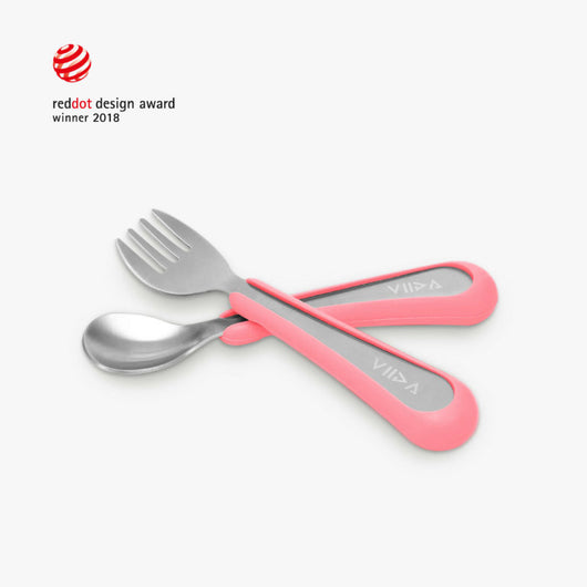 [VIIDA] The Soufflé Kids Antibacterial Stainless Steel Fork and Spoon Set (Small) for Toddler 6 Months to 2 Years Old Children - Eco-Friendly, Safe, FDA Certified, SGS Tested