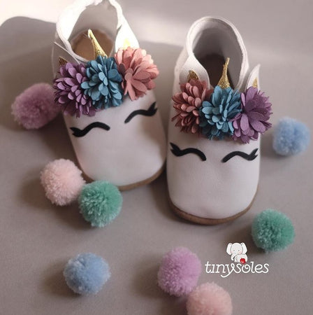[TinySoles] Pre-walkers Soft Soled Baby Walking Shoes - Unicorn (2 colors available) - 100% Genuine Leather