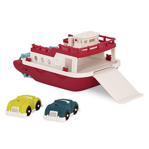 [Wonder Wheels by Battat] Red Ferry Boat with 2 Cars and Ramp – Floating and Winding Propeller Bath Toy Boat- 1year+