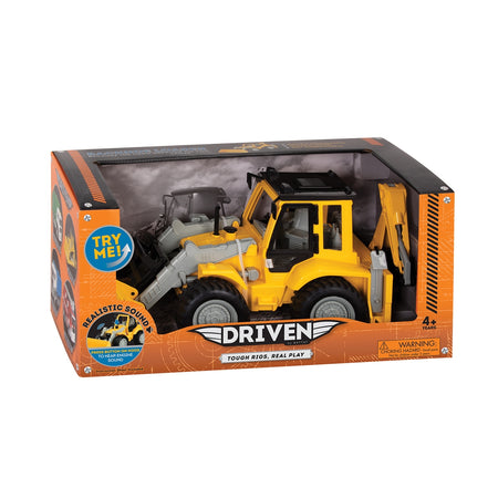 [Driven by Battat] Midrange Series - Backhoe Loader - Yellow Mid-Sized Toy Truck - With Realistic Sounds - Available in 6 Designs