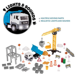 [Driven by Battat] Micro Series Construction Crane Play Set 62 Pieces with Realistic Interior and Lights WH1022Z - 4years+