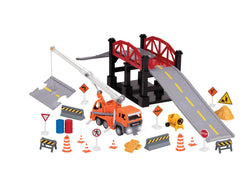 [Driven by Battat] Micro Series Bridge Construction Site Play Set with Exclusive Crane Truck Toy - With Realistic Lights and Interior - 35 Pieces - Available in 3 Designs