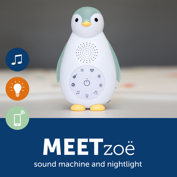 [Zazu] Sound Machine Nightlight with Wireless Speaker and Cry Sensor, Zoë the Penguin - 0months+