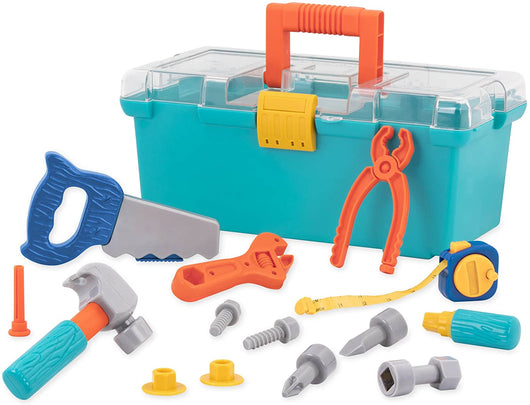 [Battat] Builder Tool Box – Durable Kids Tool Set – Pretend Play Construction Tool Kit For Kids 3 Years+ (15-Pcs)