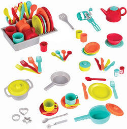 [Battat] Deluxe Kitchen - Pretend Play Accessories Toy Set (71 Pieces Including Pots & Pans)