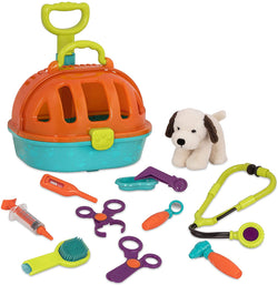 [Battat] Pup & Go Vet Carrier - Rolling Pet Carrier with Plush Dog Pretend Play for Children Aged 3+ (12pcs)