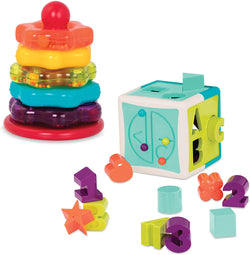 [Battat] Stacking Rings + Shape Sorter Cube Bundle Combo Set – Learning Toys for Kids Age 1 & Up (20 Pc)