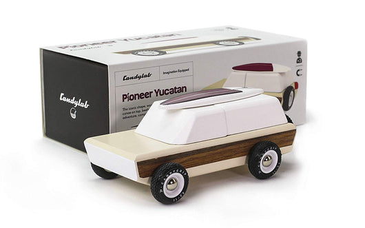 Candylab Toys - Pioneer Yucatan Wooden Car with Canoe - Modern Vintage Style - Solid Beech Wood