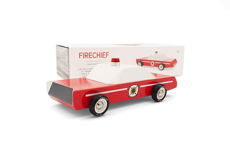 [Candylab Toys] Fire Chief Wooden Car - Modern Vintage Style - Solid Beech Wood