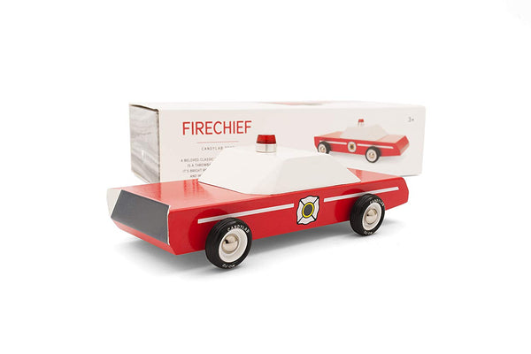 Candylab Toys - Fire Chief Wooden Car - Modern Vintage Style - Solid Beech Wood