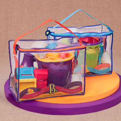 [B.Toys] Summer Beach Bag with Bucket and 10 Beach Sand & Water Play Accessories - 18months+