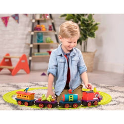 [B.Toys] Critter Express Musical Electric Toy Train with Steam and Light 12pcs - 2years+