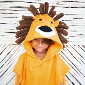 [Savana] Orange Lion Hooded Poncho Towel for Kids - 100% Cotton Suitable for Indoor / Outdoor - 11 designs