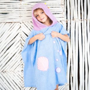 [Savana] Purple & Blue Mermaid Hooded Poncho Towel for Kids - 100% Cotton Suitable for Indoor / Outdoor - 11 designs