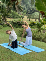 "[MiniYOGI] Matching ""Mum & Me"" Suede Travel Yoga Mats - Pack of 2 Mats for Kids & Adults"