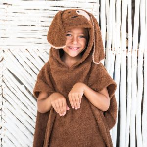 [Savana] Brown Puppy Hooded Poncho Towel for Kids - 100% Cotton Suitable for Indoor / Outdoor - 11 designs